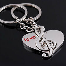 1Pair Sweet Music+Love Heart  Key Ring Couple Keychain Lover Gift Keyfob Keyring