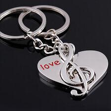 Lot 2PCS Couple Sweet Love Heart Music Key Ring Keyfob Couples Lover Keychain