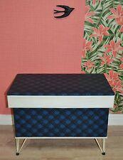Vintage 60er COFFRE wäschekiste Boîte Sixties bleu à carreaux rangement corde