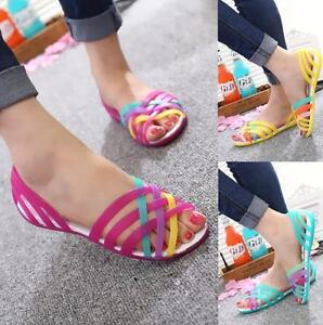 Hot Women Summer Beach Flat Sandals Open Toe Jelly Colorful Hollow Up Shoes