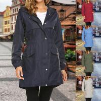 HOT Womens Rain Coat Lightweight Hooded Long Raincoat Outdoor Breathable Jackets