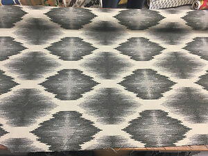 """Obli Circles Charcoal Reversible Heavy Woven upholstery Fabric 62"""" by the yard"""