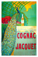Print Poster Vintage cognac peacock  green Canvas Framed
