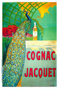 """Print Poster Vintage cognac peacock  green Canvas Framed 28"""" x 20"""" painting"""