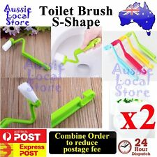 2 x Toilet Brush S Shape Family Sanitary Cleaning Scrubber Curved Bent Handle