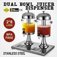4.2Gal Juice Dispenser Luxury Dual Bowl Tea Beverage Juicer 16L Stainless Steel