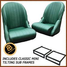 Paar BB Vintage grün klassisch niedrige Rückenlehne Eimer Sitze+Hilfsrahmen