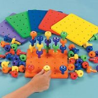 Stack It Peg Game With Board Occupational Therapy Autism Fine Motor Skills