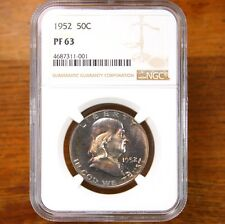 1952 Franklin 50C NGC Certified PF63 Toned Proof Franklin US Silver Half Dollar
