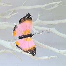 6 Artificial Feather Pink Butterfly Butterflies Craft Decoration Topper 3D Art