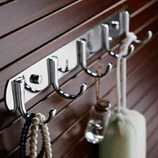 Stainless Steel 5 Hooks Wall Hanger Coat Clothes Robe Holder Bedroom Towel Rack