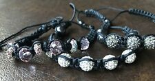 RHINESTONE Ball Bead SHAMBALLA Ankle Wrist Bracelet LOT JEWELRY Black Pink White