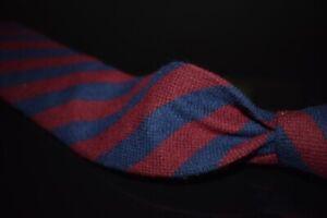 Gitman Brothers Hand Made USA Cashmere Silk Maroon Navy Flannel Block Stripe Tie