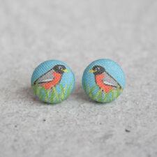Robin Fabric Button Earrings
