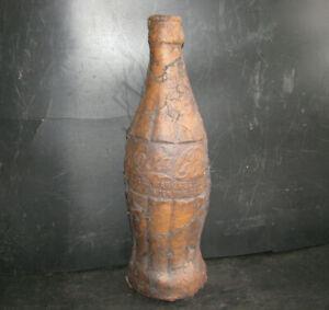 """18"""" COCA COLA BOTTLE SCULPTURE -6oz- Clay Pottery BRUTALIST POP ART '70s vintage"""