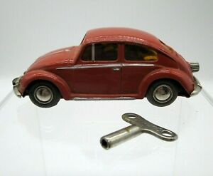 Vtg 1960's Schuco Micro Racer Volkswagen VW Beetle Bug Wind up Car with Key 1046