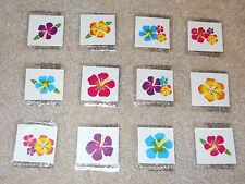 Lot of 12 Hibiscus flower glitter temporary tattoos Luau party favor goody bags