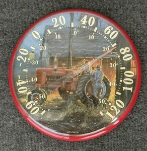 """Acu-rite indoor outdoor thermometer evening farm scene, tractor, dated 2002 12""""d"""