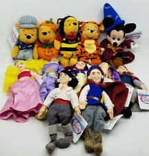 Lot Of 12  Disney Store Bean Bag Plush Dolls Winnie The Pooh Mickey Mouse Alice