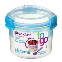 Sistema Breakfast To Go Lunch Bowl Food Container with Spoon - Assorted Colours