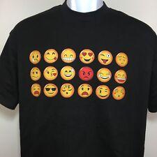 Stussy Emoji T Shirt Vtg Skate Adult Tee Surf Mens Short Sleeve Black Large L