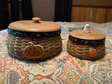 Longaberger Hostess Halloween And Happy Halloween Baskets With Wood Lids 2004