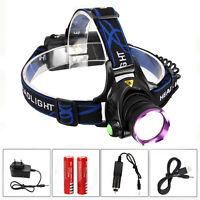 Bright 10000lm T6+2xR5 LED Kopflamp Stirnlampe Lampe 2x18650 Akkru+USB Ladegerät
