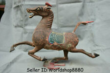 "17.2"" Old China Bronze Painting Dynasty Horse Stepping on Flying Swallow Statue"