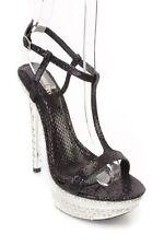 Black T Strap  Platform High Heels Glitter Shoes Wedding/Party/Club Evening sz 8