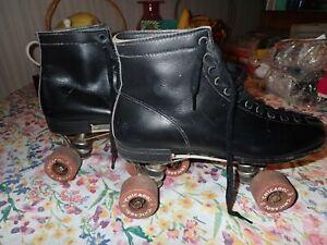 Vintage Men's Original Chicago Black Leather Roller Skates Size 7 & worn Case