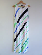 Sportscraft Sz 12 Colourful Diagonal Stripe Viscose Sleevless Blouson Maxi Dress