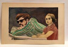Petite AQUARELLE Portrait Homme Enfant PIERRE-HENRI BOUSSARD Sard 1985 #30