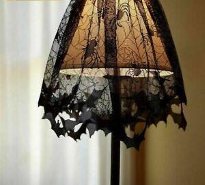 Lamp Shades Black Lace Spider Web For Halloween Decoration Pumpkin Bag Ornaments