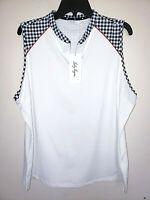 Womens Lady Hagen 1/4 Zip Gingham USA Sleeveless Golf Polo Shirt New 2XL $40