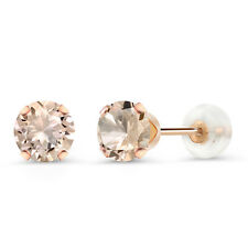0.80 Ct Round 5mm Peach Morganite 10K Rose Gold Stud Earrings