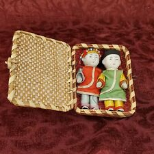Vintage All Bisque Miniature jointed 2 Japan  Dolls Colorful Outfits In Basket