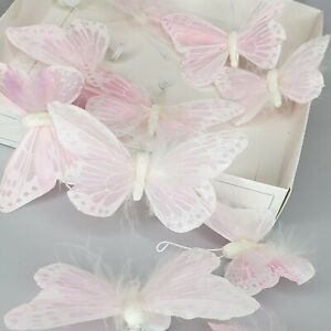 Pottery Barn Kids Feather Butterfly Stick-On Room Decor Pink Set of 10