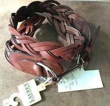 Ralph Lauren Braided Brown Leather Equestrian Plaited Belt Sz L 14