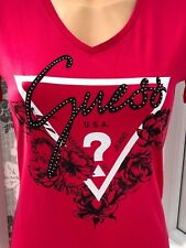 GUESS Graphic Large Logo Floral Diamante T-Shirt Top Tee In Pink Size M BNWT