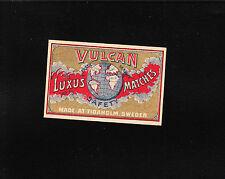 VINTAGE Match Matchbox Label DEEP RICH COLOR Vulkan Luxus Globe   E1