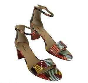 New Vanelli Meres multi color patent leather sandal adjustable strap block heel
