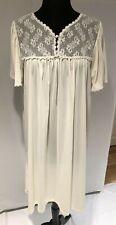 Vintage Pure Luxury nylon nightgown light cream color floral lace top size L