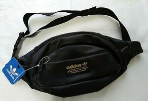 Adidas Originals Shoulder Pack Sling Waist Bag Black PU/Gold #5144876 Brand NWT