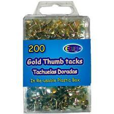 Thumb tacks. Gold , 200 ct., Reusable Box, Case Pack of 48