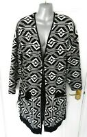 ROMAN Size 16 Black White Soft Stretchy Open Long Cardigan Jacket Pockets