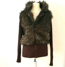 Faux Fur Jacket 12 14 Brown Autumn Winter Ribbed Knit Zip