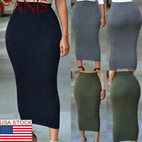 Women Casual High Waist Skirt Long Bodycon Stretchy Maxi Skirt Pencil Skirts US