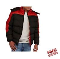 New Climate Concepts Big Men's Fleece Lined Bubble Jacket, Black/Red Size XL