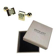 Mens Gilt & Clear Crystal Smart Cufflinks & Gift Box By Onyx Art
