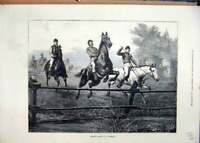 Original Old Antique Print 1874 Steeple-Chasing Germany Horses Jumping Victorian